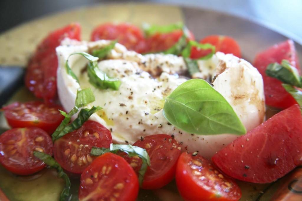 burrata tomato salad with garden basil