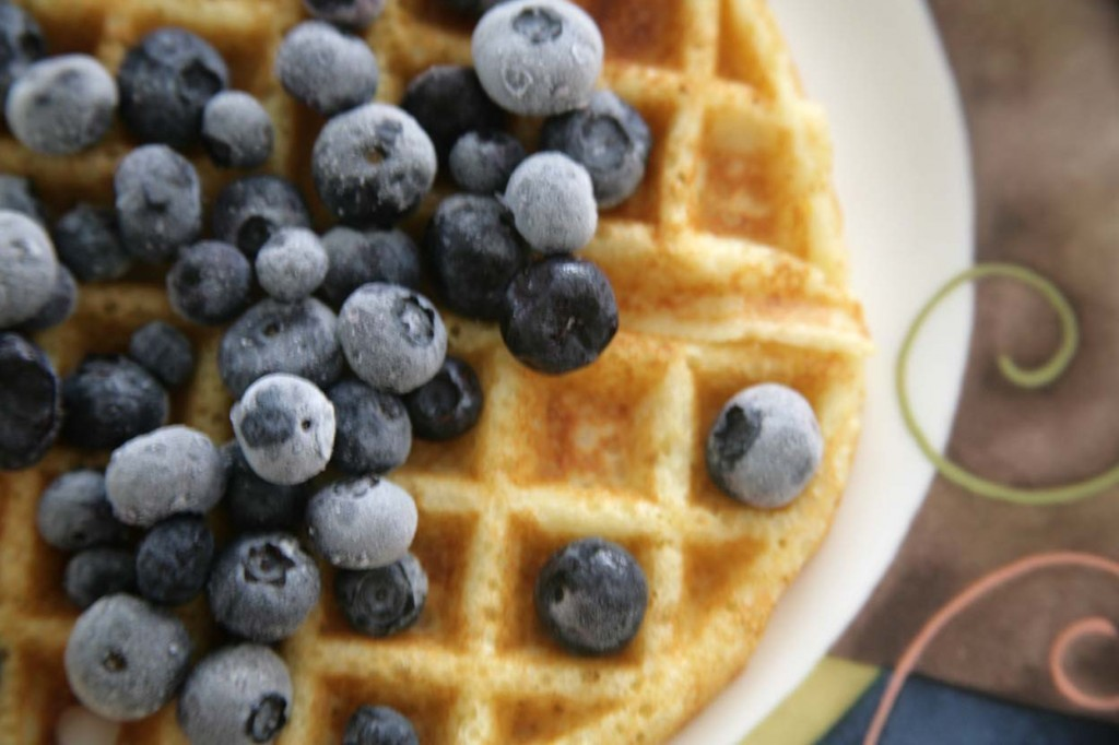 waffle with frozen blueberries